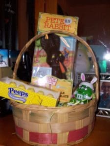 An Easter Basket filled with candy and chocolate.