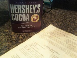 hershey's cocoa, used for making brownies