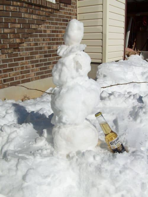 snowman with a beer