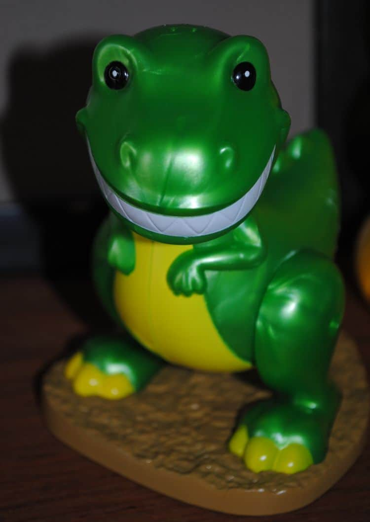 The toy dinosaur that kept me company while I baked double chocolate chip cupcakes