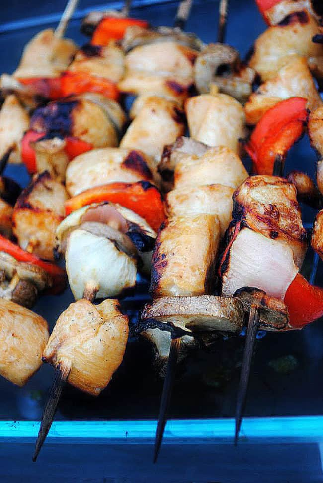 Grilled chicken kabobs are a recipe that uses fresh chicken breast and garden vegetables. Season them up, put them onto skewers and grill them up for an easy weeknight dinner. | Get the recipe from passthesushi.com
