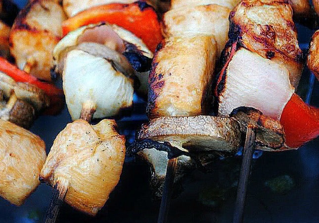 Grilled chicken kabobs are a recipe that uses fresh chicken breast and garden vegetables. Season them up, put them onto skewers and grill them up for an easy weeknight dinner.
