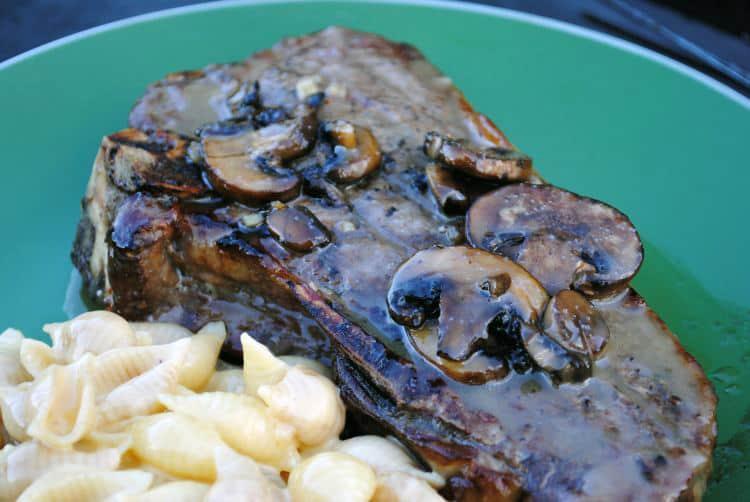 Grilled Rib Eye Steak with Caramel-Brandy Mushroom Sauce \\ Recipe on PassTheSushi.com