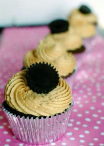 Brownie Cupcakes with Fluffy Peanut Butter Frosting \\ Recipe from PassTheSushi.com