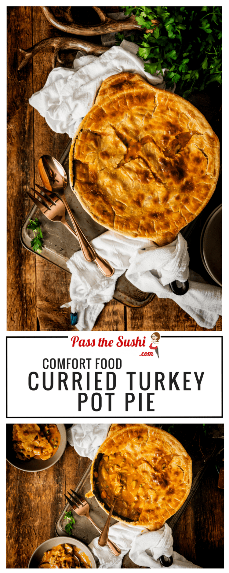 Talk about comfort food! Curried Turkey PotPie - perfect for using up leftover turkey or chicken | Recipe at PasstheSushi.com