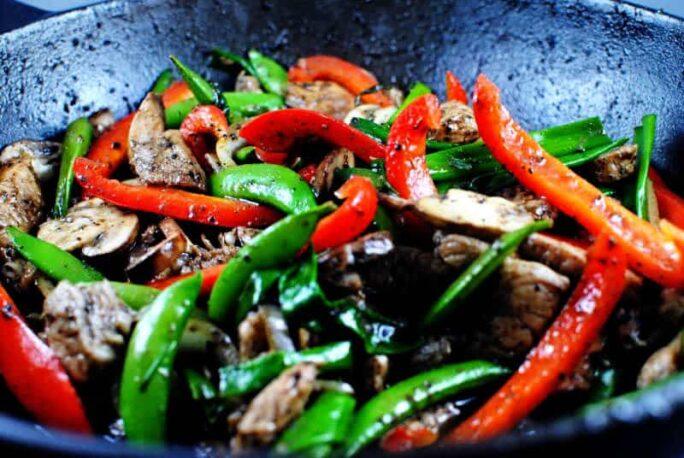 Close up of Black Pepper Pork Stir Fry \\ PassTheSushi.com