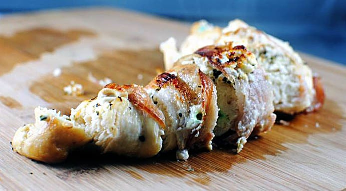 Bacon Wrapped Goat Cheese Stuffed Chicken Breasts \ Recipe on PassTheSushi.com