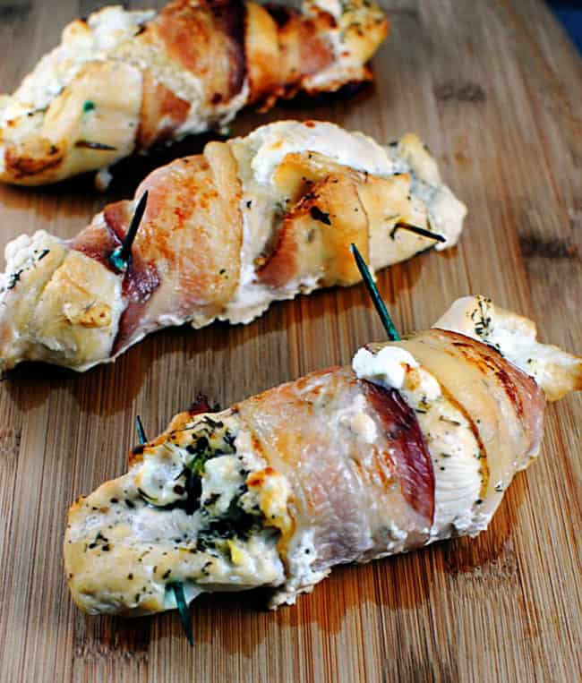 Bacon Wrapped Goat Cheese Stuffed Chicken Breasts \\ Recipe on PassTheSushi.com