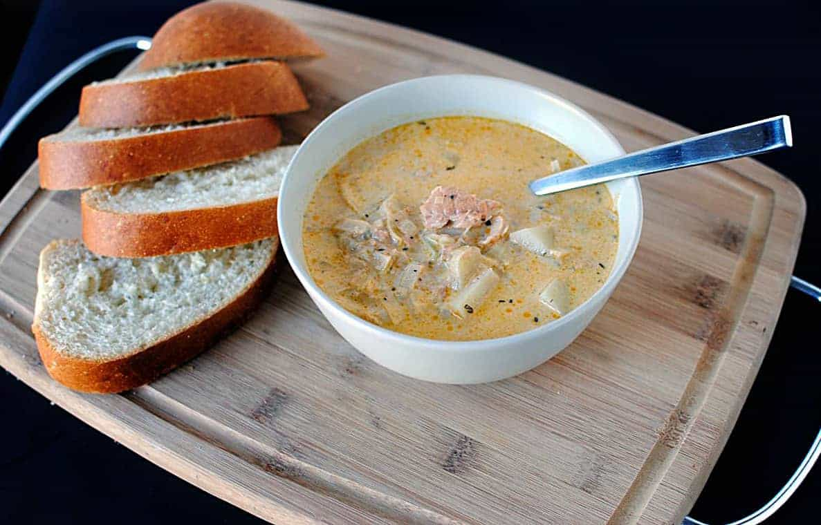 Almost Meatless Monday with Salmon Chowder