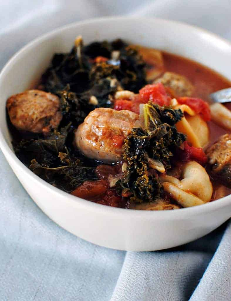 Sausage Soup with Mixed Greens and Cornmeal Dumplings \\ Recipe on PassTheSushi.com