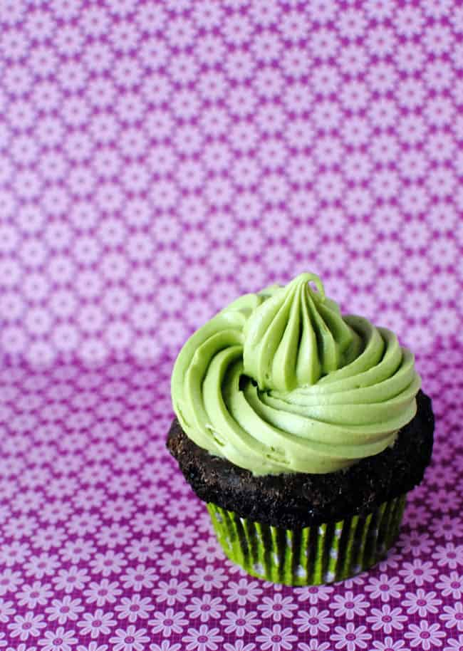 Matcha powder is added to a fluffy cream cheese frosting and swirled over the top of moist chocolate cupcakes.  Get the recipe from PassTheSushi.com