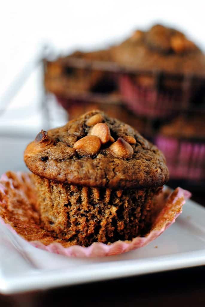 Chocolate Peanut Butter Chip Muffins Recipe \\ PassTheSushi.com