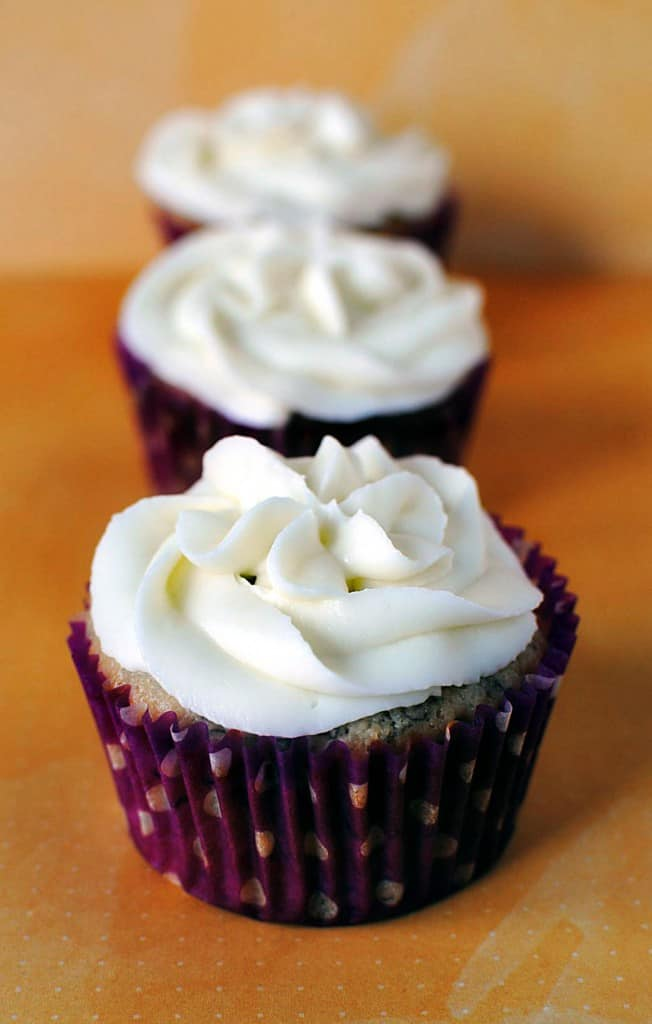 Banana Cupcakes with Creme Fraiche Frosting - Recipe on PassTheSushi.com