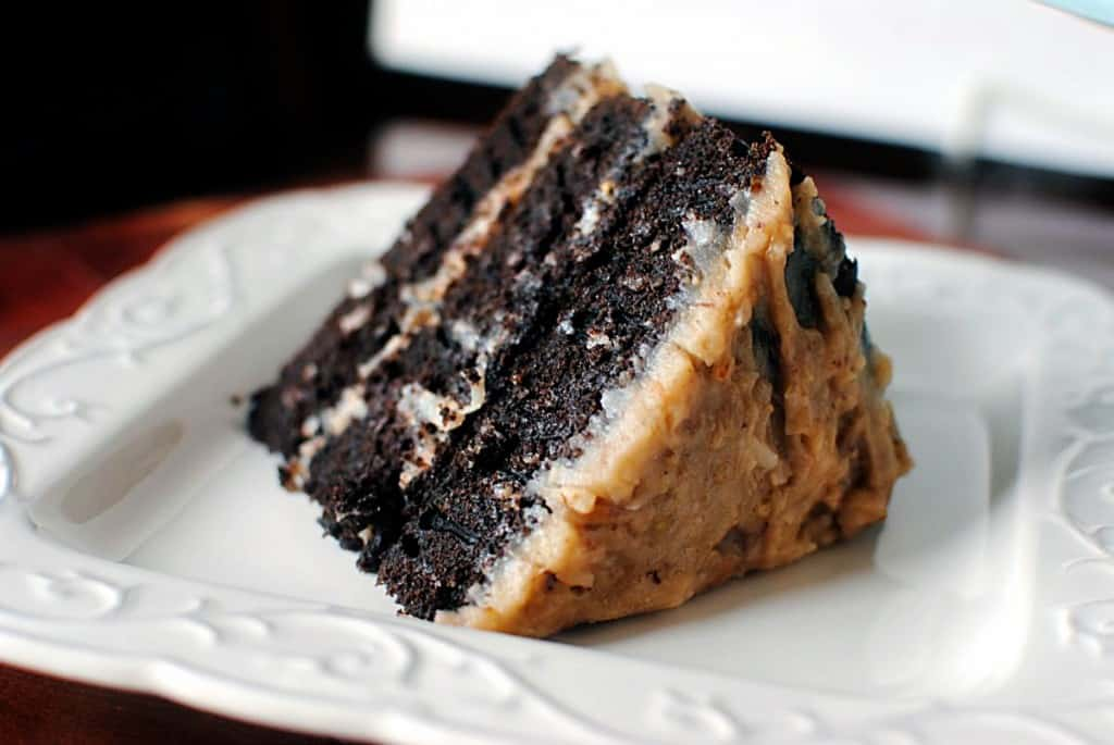 German Chocolate Cake on a white plate \\ Pass the Sushi