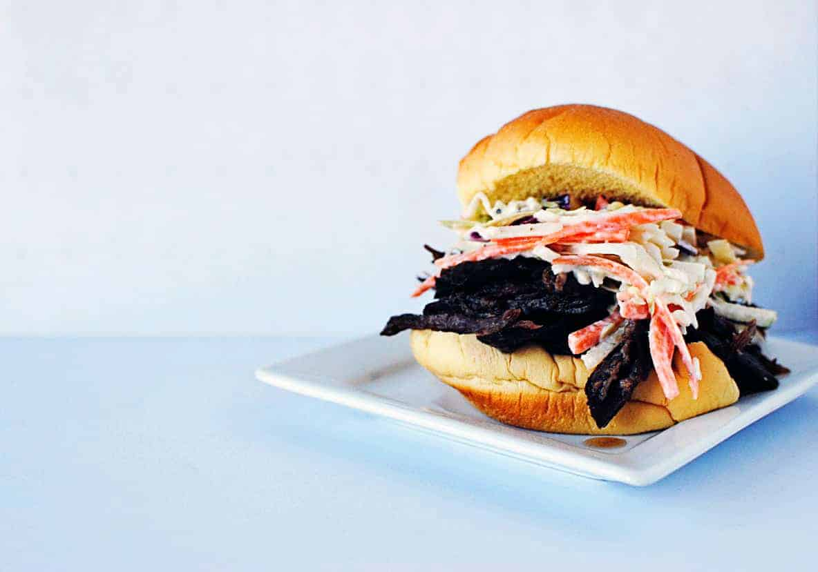 Shredded Beef Sliders with Carrot-Apple Slaw - Recipe on PassTheSushi.com
