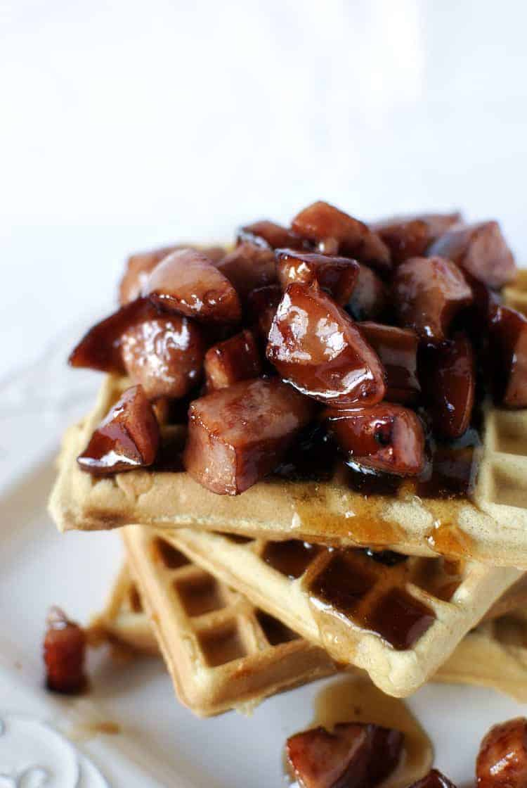 Copycat Recipe for Waffle House Cheddar Waffles with Kielbasa in Maple Syrup \\ Get the recipe on PassTheSushi.com