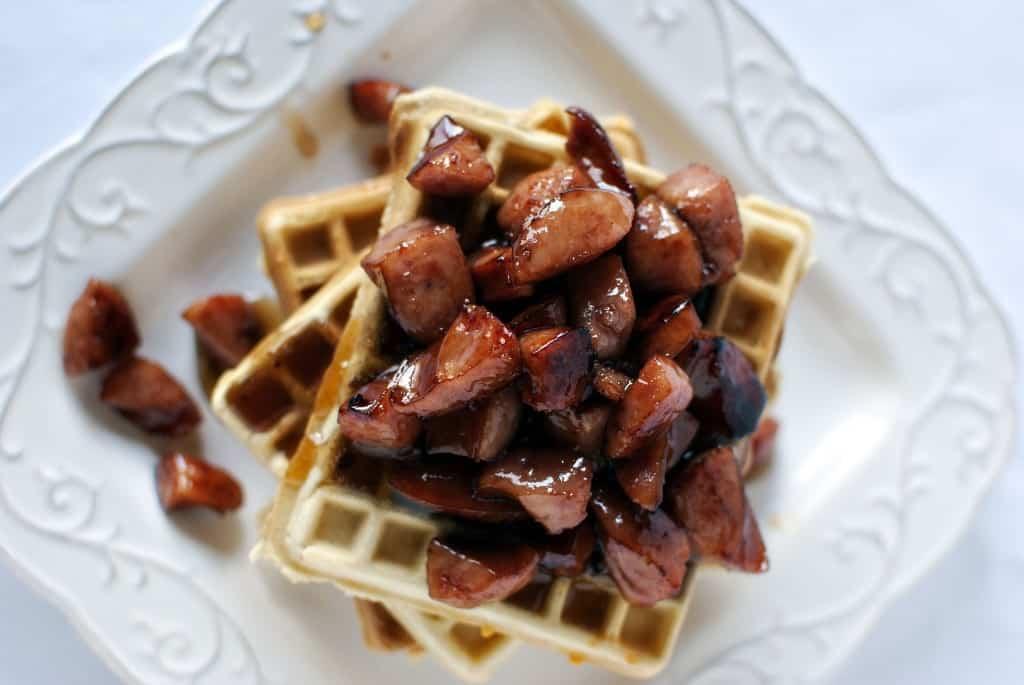 Copycat recipe for Waffle House Cheddar Waffles with Kielbasa \\ PassTheSushi.com