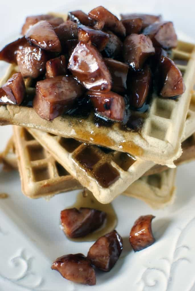 Copycat Waffle House Cheddar Waffles Recipe with Kielbasa in Maple Syrup \\ Pass the Sushi