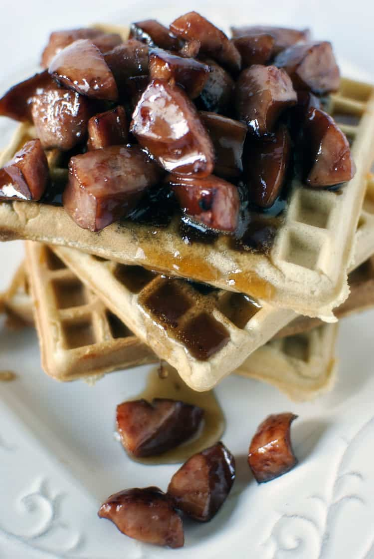 Waffle House Cheddar Waffles Recipe with Kielbasa in Maple Syrup ...