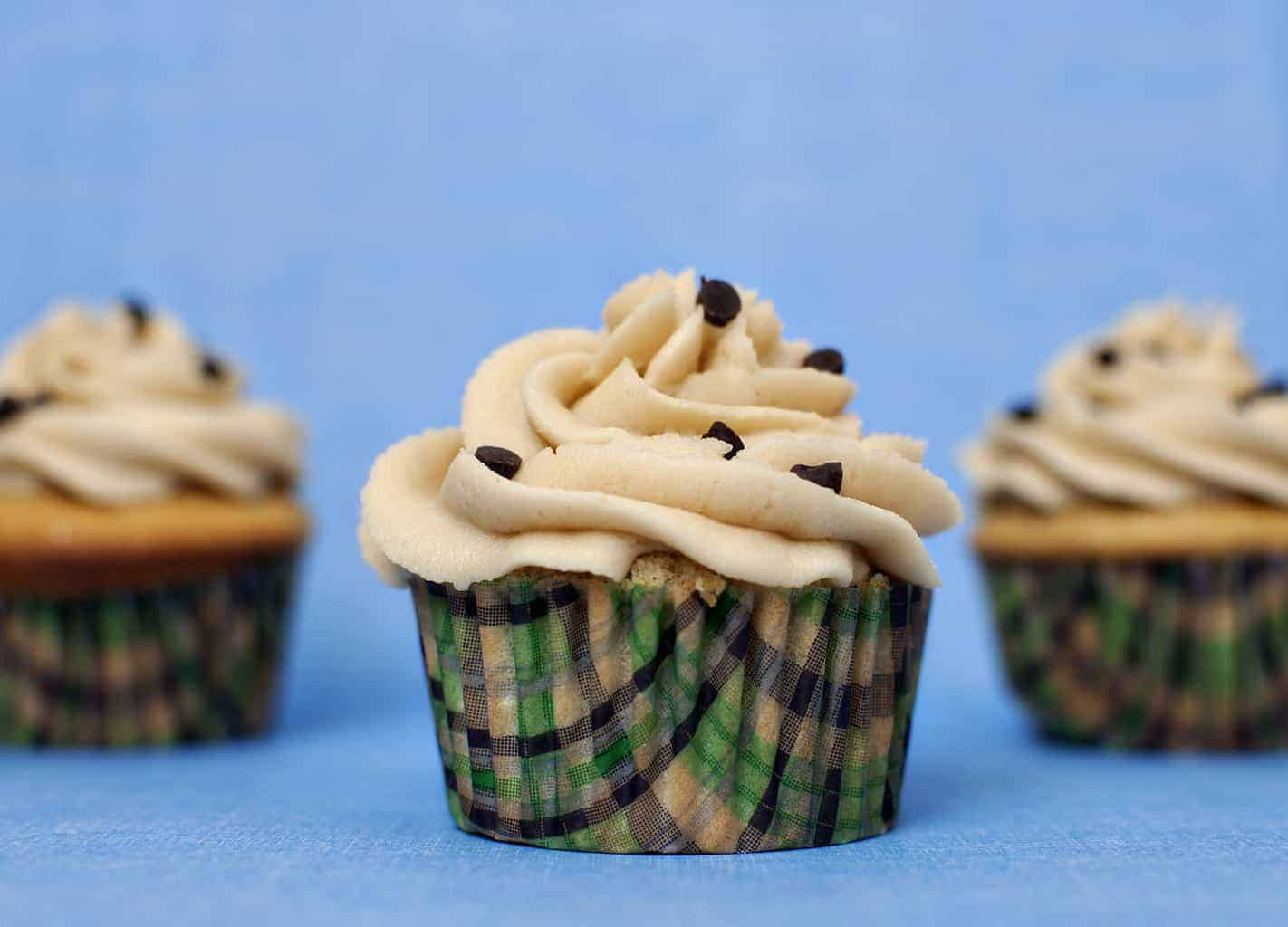 Chocolate Chip Cookie Dough Cupcakes with Brown Sugar Frosting