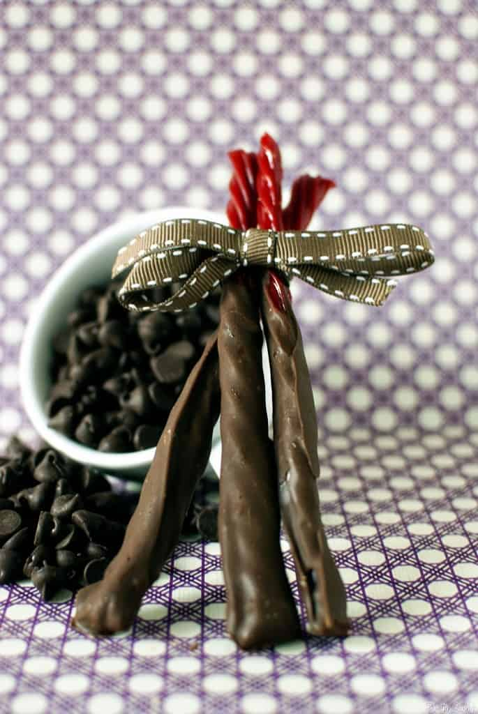 Chocolate dipped Twizzlers
