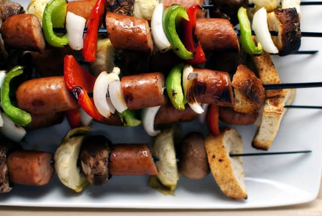 Sausage kabobs are a quick and easy meal, perfect for grilling out on a holiday weekend. \\ Recipe on Pass the Sushi