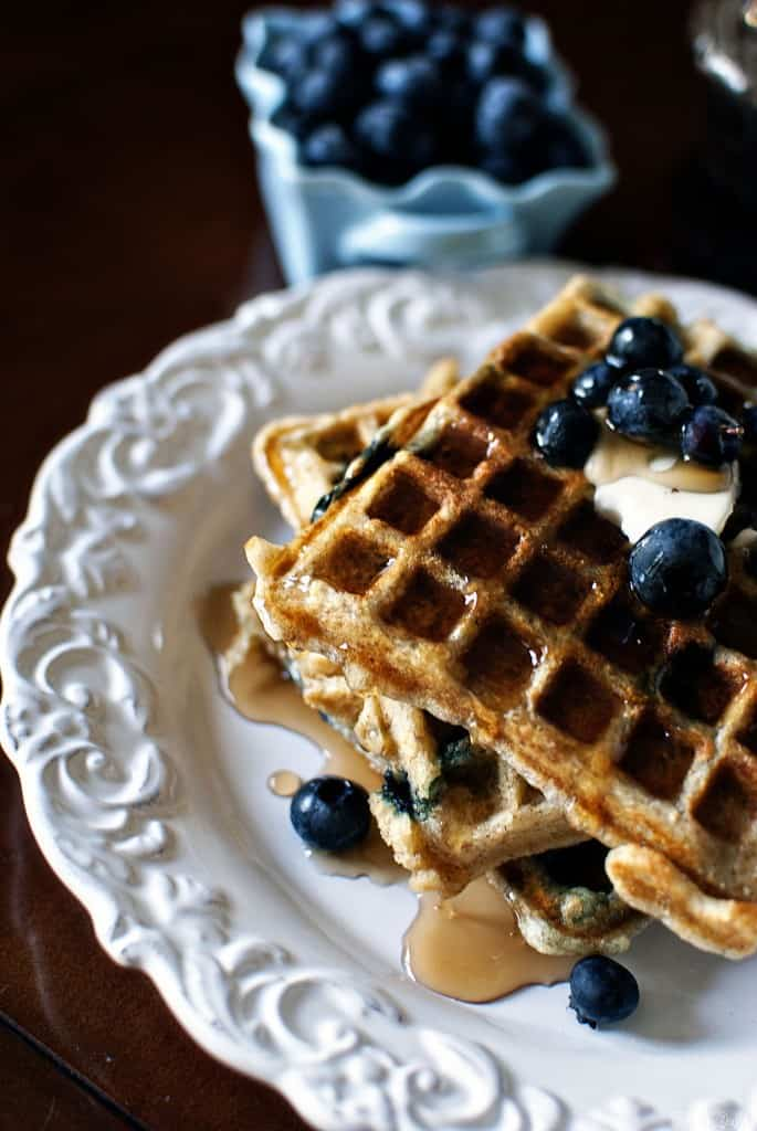 Blueberry Sour Cream Waffles for When Gerard Butler Visits - Pass The ...