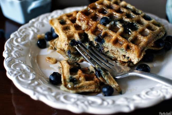 Blueberry Sour Cream Waffles Recipe, as seen on PassTheSushi.com