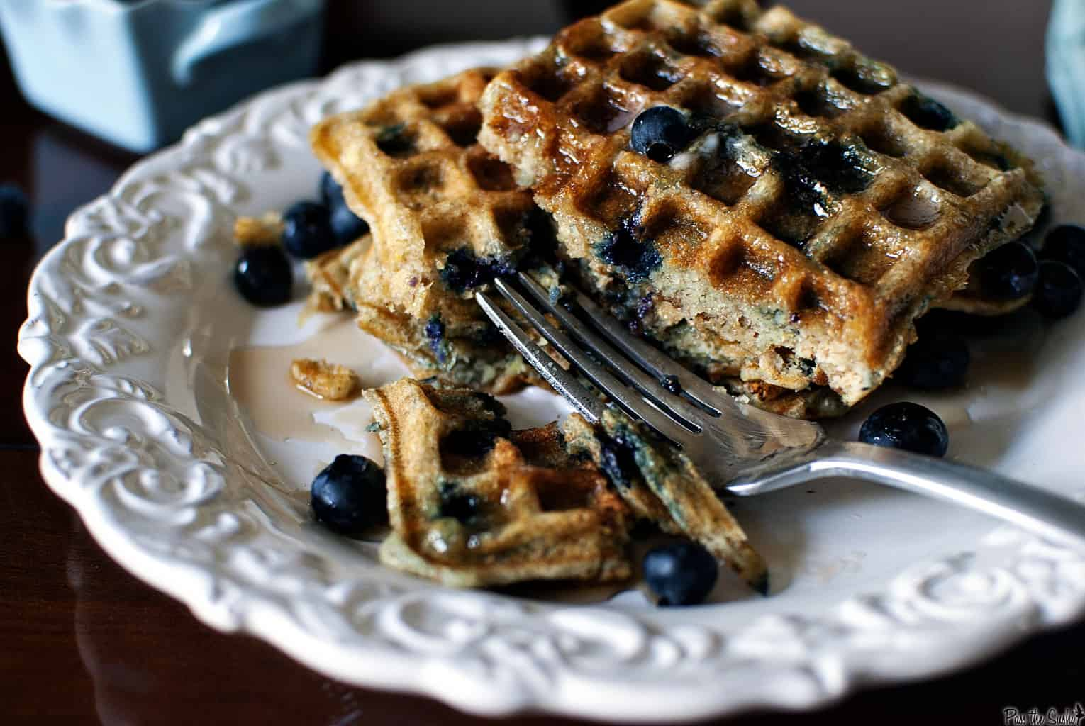 Blueberry Sour Cream Waffles - Pass The Sushi