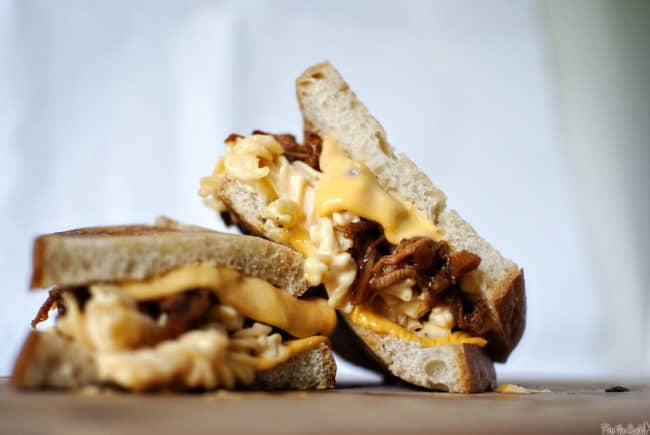 The Man-wich is a grilled mac and cheese with pulled pork. A carb lover's sandwich from Pass the Sushi.