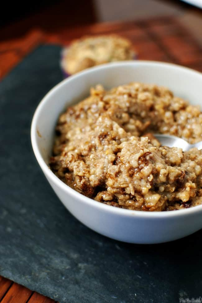 Overnight slow cooker oatmeal makes for a hearty, healthy breakfast. On the coldest of days, it'll warm you up from the inside out. Because it's made in a slow cooker, you can wake up to a warm breakfast any day of the week. \\ Recipe on PassTheSushi.com