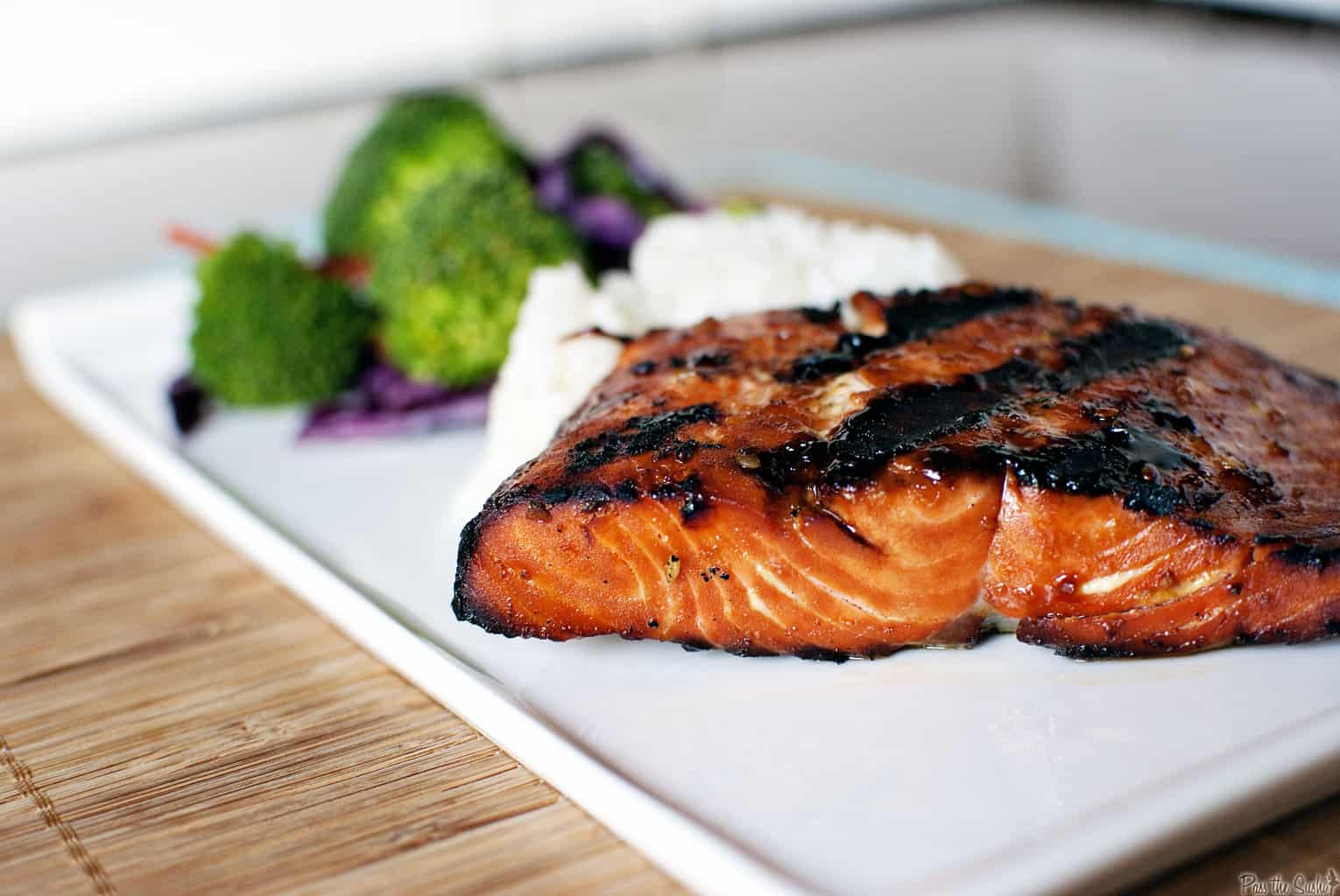 Teriyaki flame grilled salmon pass the sushi for The fish grill