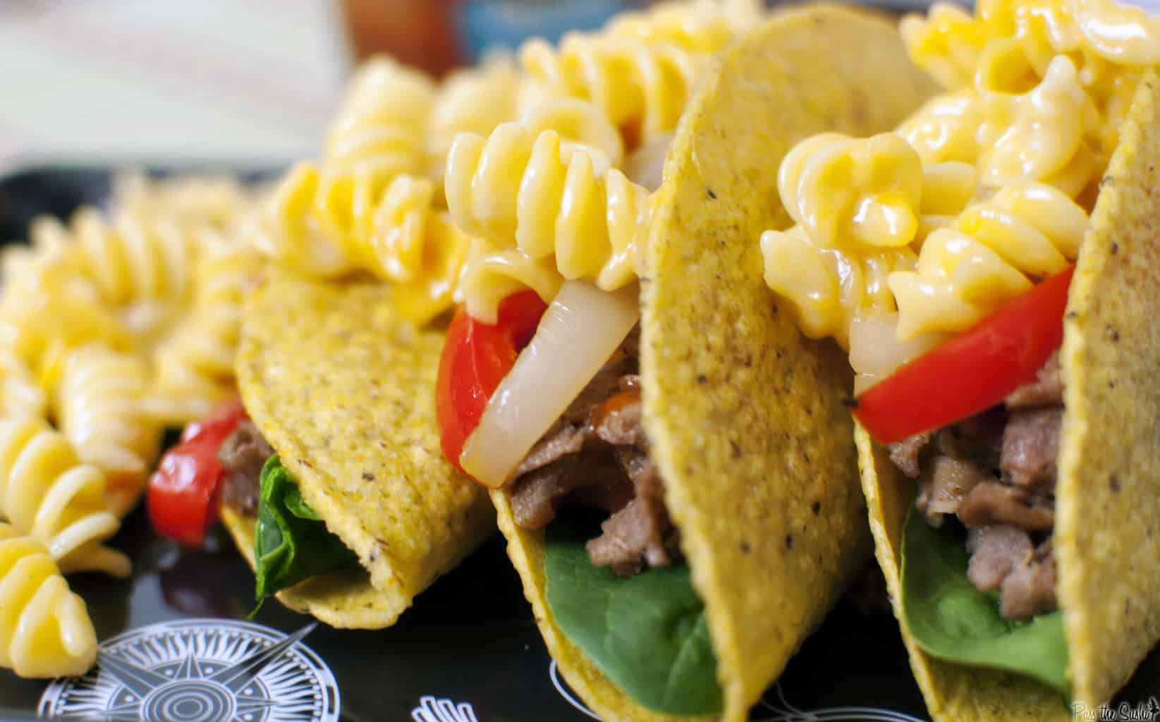 Using leftovers from your fridge before they go bad is easy and delicious with this recipe for mac and cheese steak tacos. Get the comfort food recipe from passthesushi.com