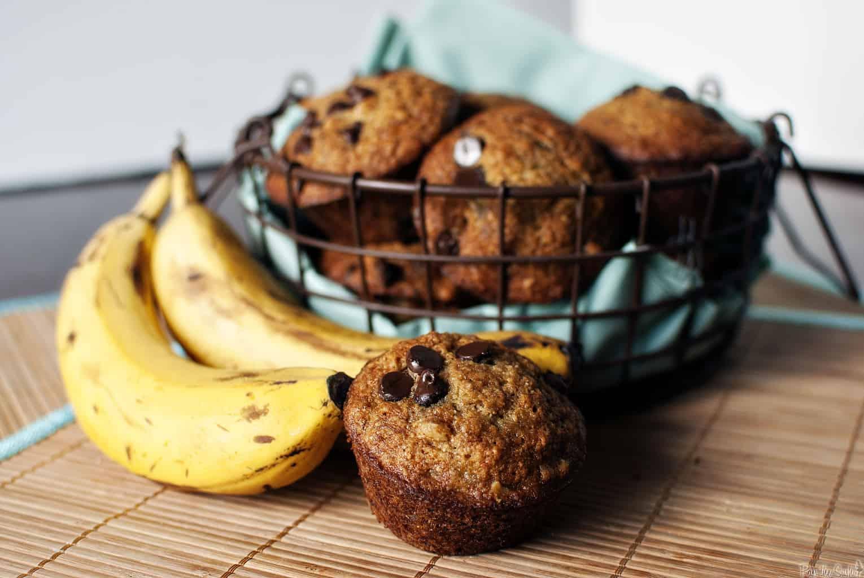 Chocolate Chip Banana Muffins Recipe // PassTheSushi.com