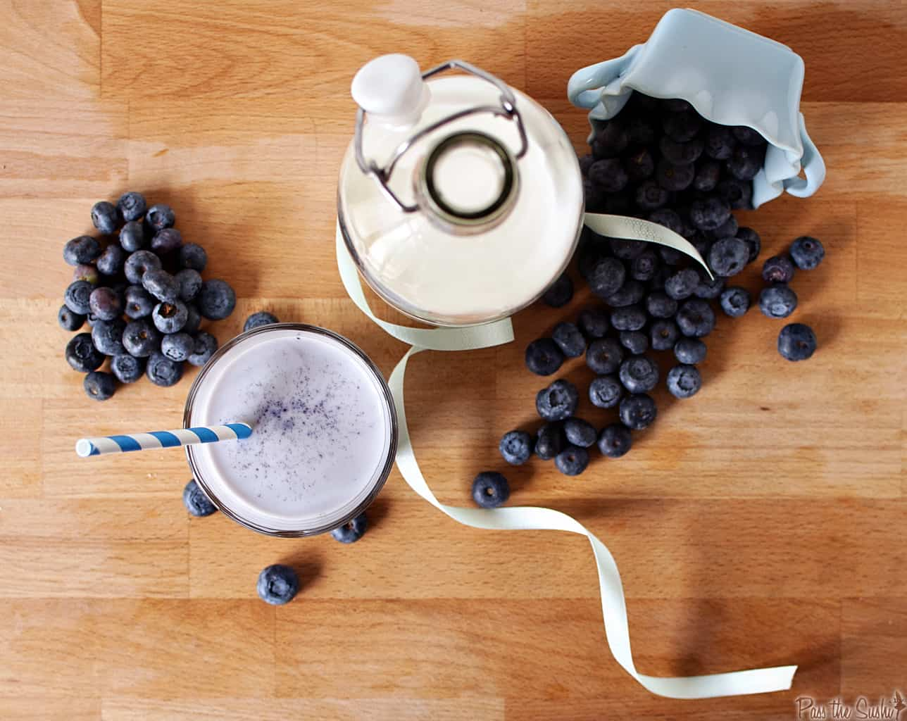 Homemade Blueberry Milk is a tasty cold treat for kids of all ages! \\ PassTheSushi.com