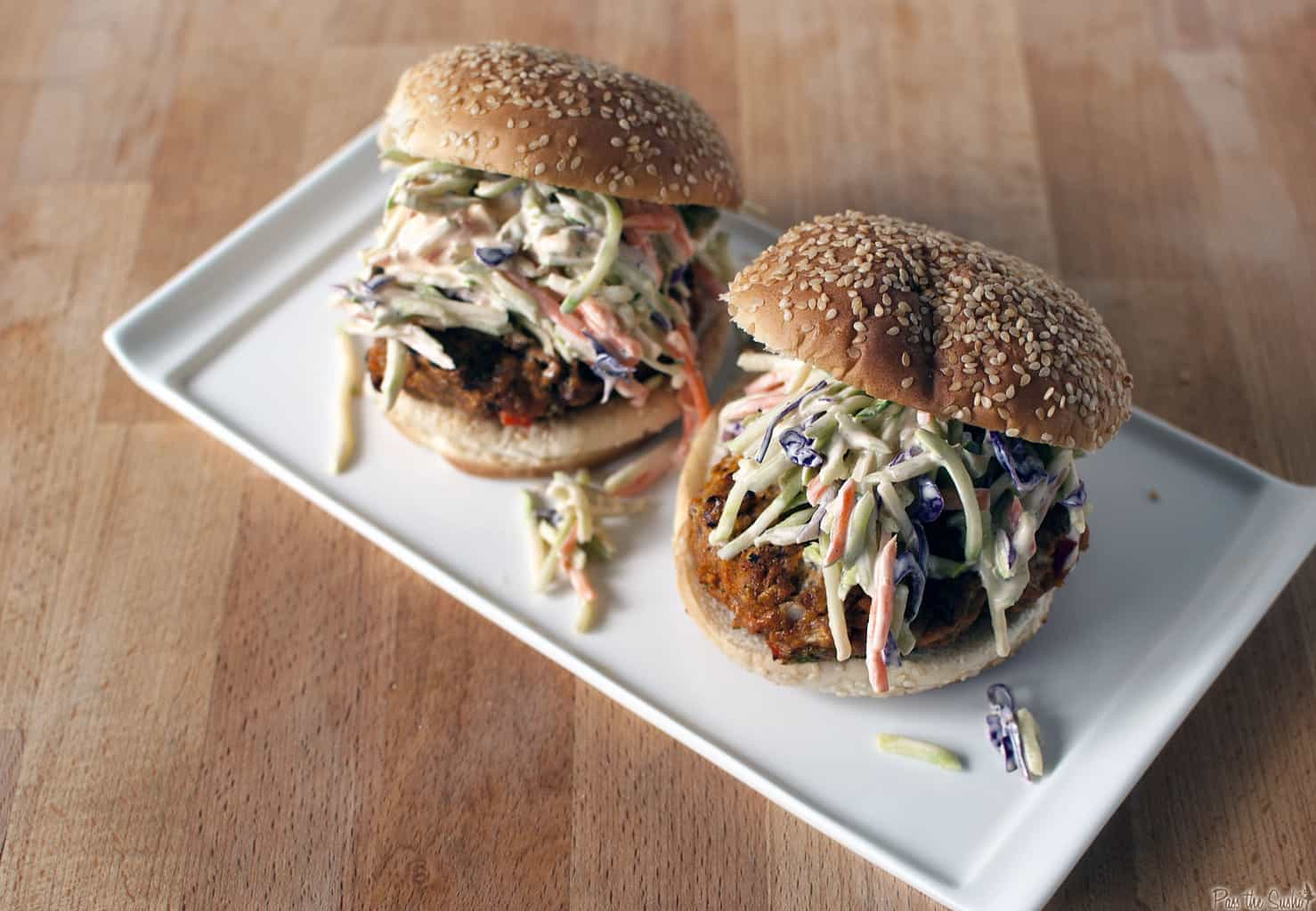 Thai Turkey Burgers with Broccoli Slaw