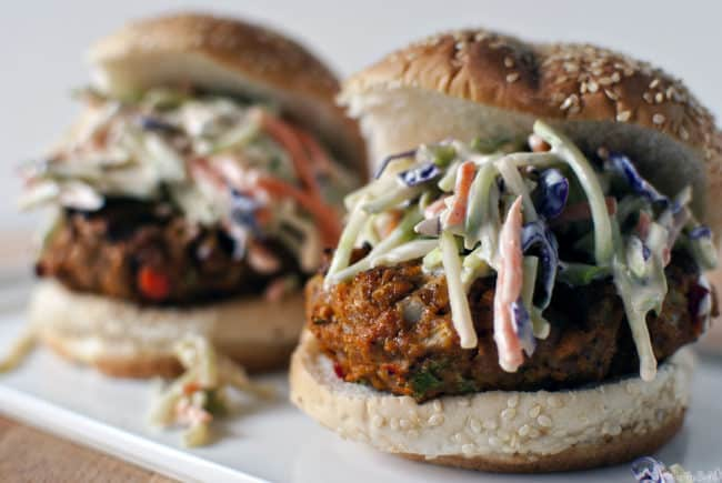 Turkey burgers, flavored with Thai seasoning, grilled, then topped with crunchy and healthy broccoli slaw. \\ PassTheSushi.com
