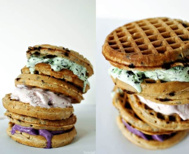 Waffle ice cream sandwiches are the perfect summer dessert. This easy-to-make frozen treat uses just 2 simple ingredients! \\ Recipe on PassTheSushi.com