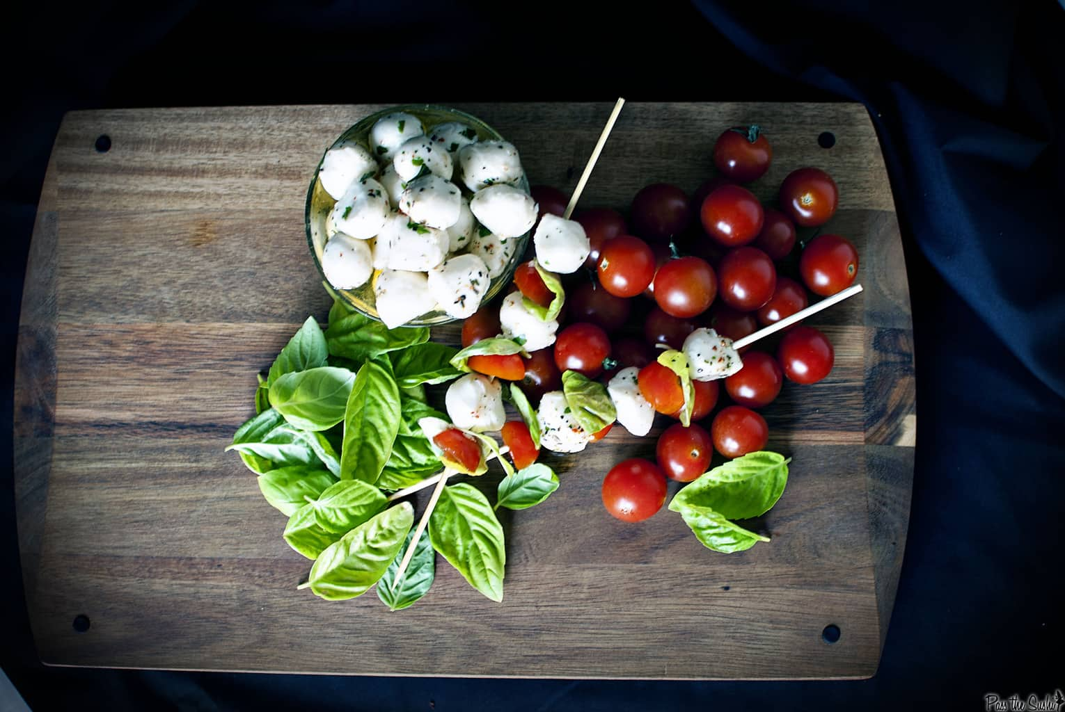 Favorite Party Foods include these Caprese Skewers