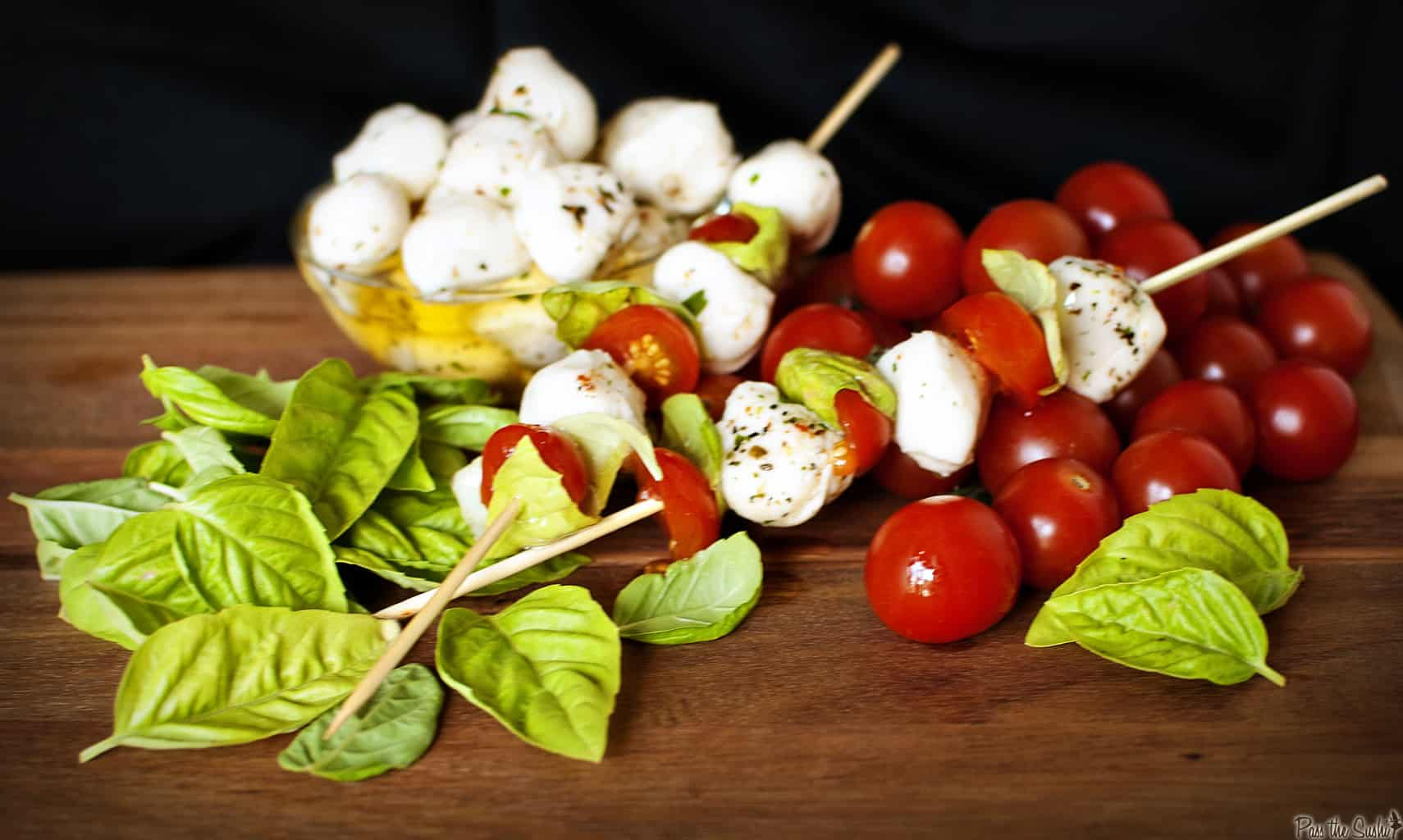 Caprese appetizer skewers are easy to make and delicious to eat. They'll become one of your easy appetizer favorites! // PassTheSushi.com