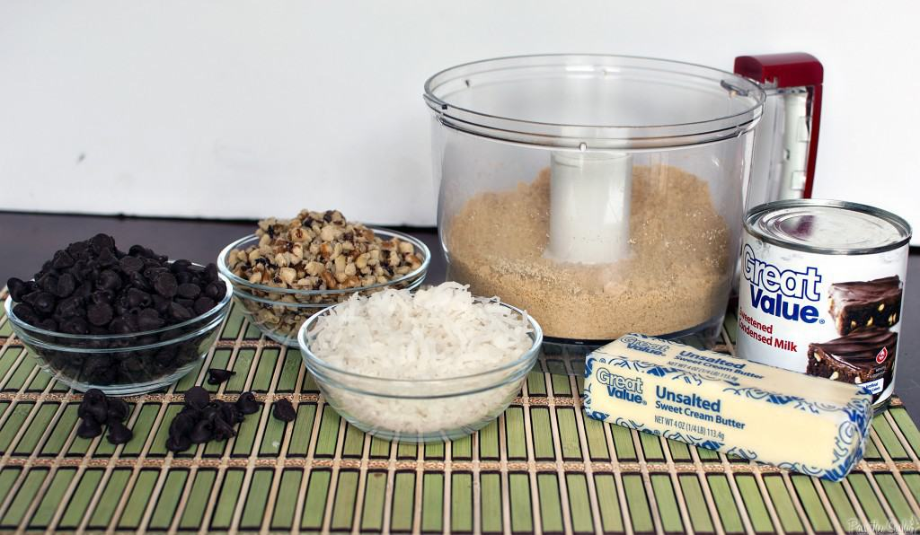 Ingredients needed to make coconut bars.
