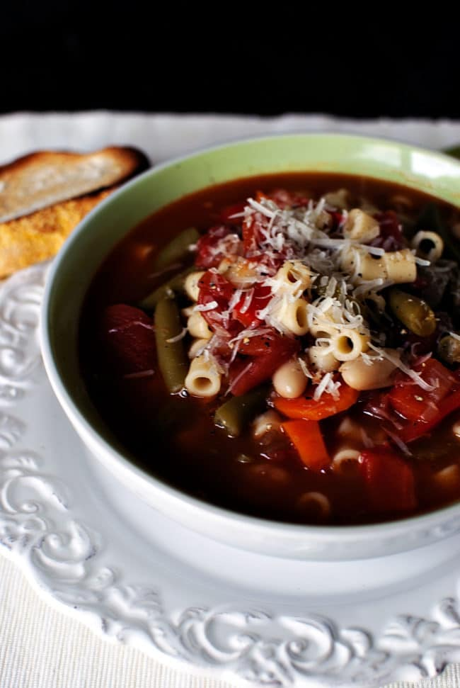 Summer garden vegetables are plentiful in this delicious homemade summer minestrone soup. Rich, homemade stock and tender pasta cling to the healthy summer veggies. \\ PassTheSushi.com