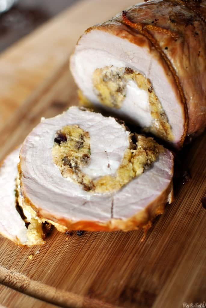 Apple-Cranberry Stuffed Charcoal Grilled Pork Tenderloin \\ PassTheSushi.com