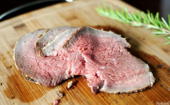 Grill-roasted beef is a classic beef sirloin roast, cooked to perfection on a charcoal or gas grill. A bit healthier and so much more delicious than oven-roasted beef. \\ PassTheSushi.com