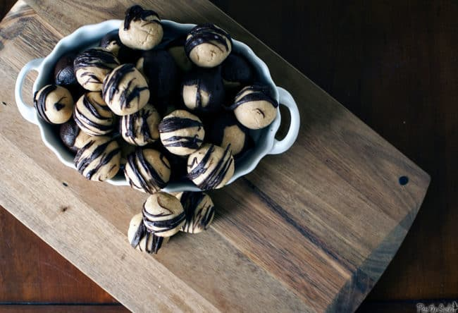 Buckeyes are bite-sized confections, made with creamy peanut butter and sweet chocolate. They are completely irresistible!  \\ PassTheSushi.com