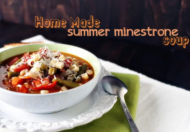 Summer garden vegetables are plentiful in this delicious homemade summer minestrone soup. Rich, homemade stock and tender pasta cling to the healthy summer veggies.