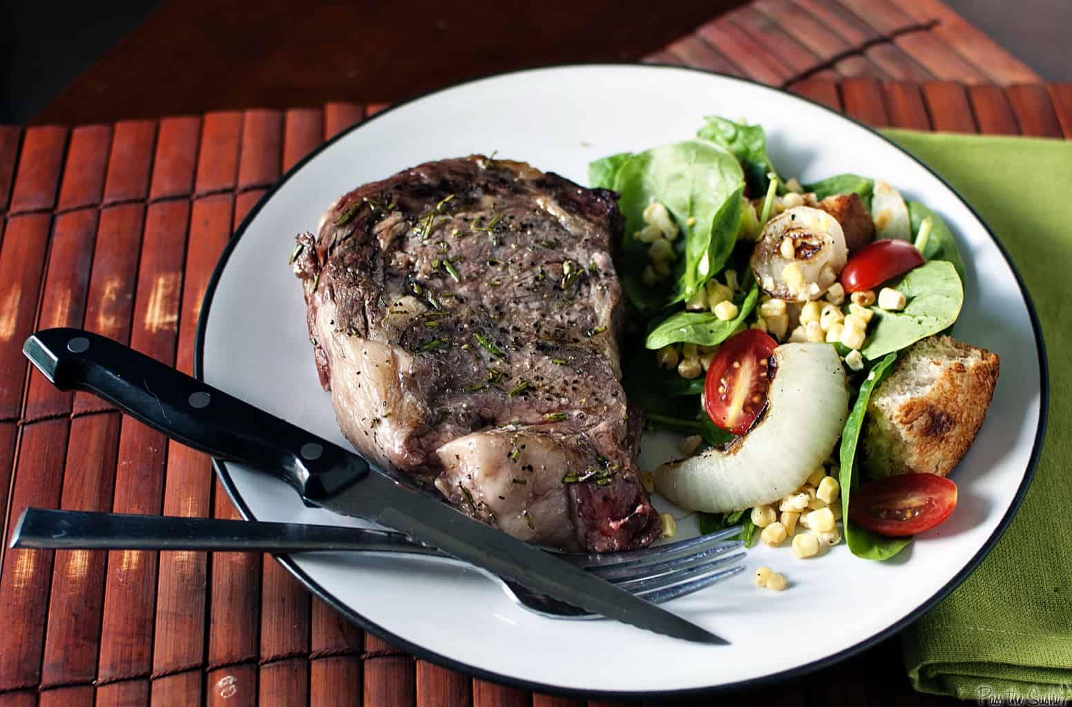 Rosemary Ribeye Steaks with Grilled Bread Salad