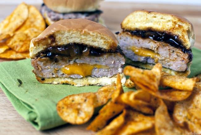 Onion Cheddar Pork Burgers \\ passthesushi.com