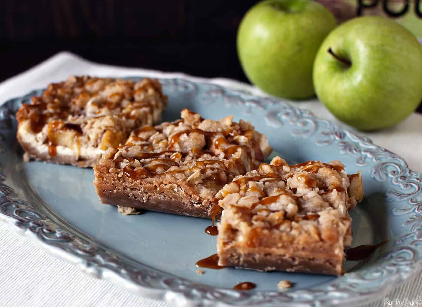 Caramel apple cheesecake cookie bars are the perfect welcome to fall baking! \\ Recipe on PassTheSushi.com
