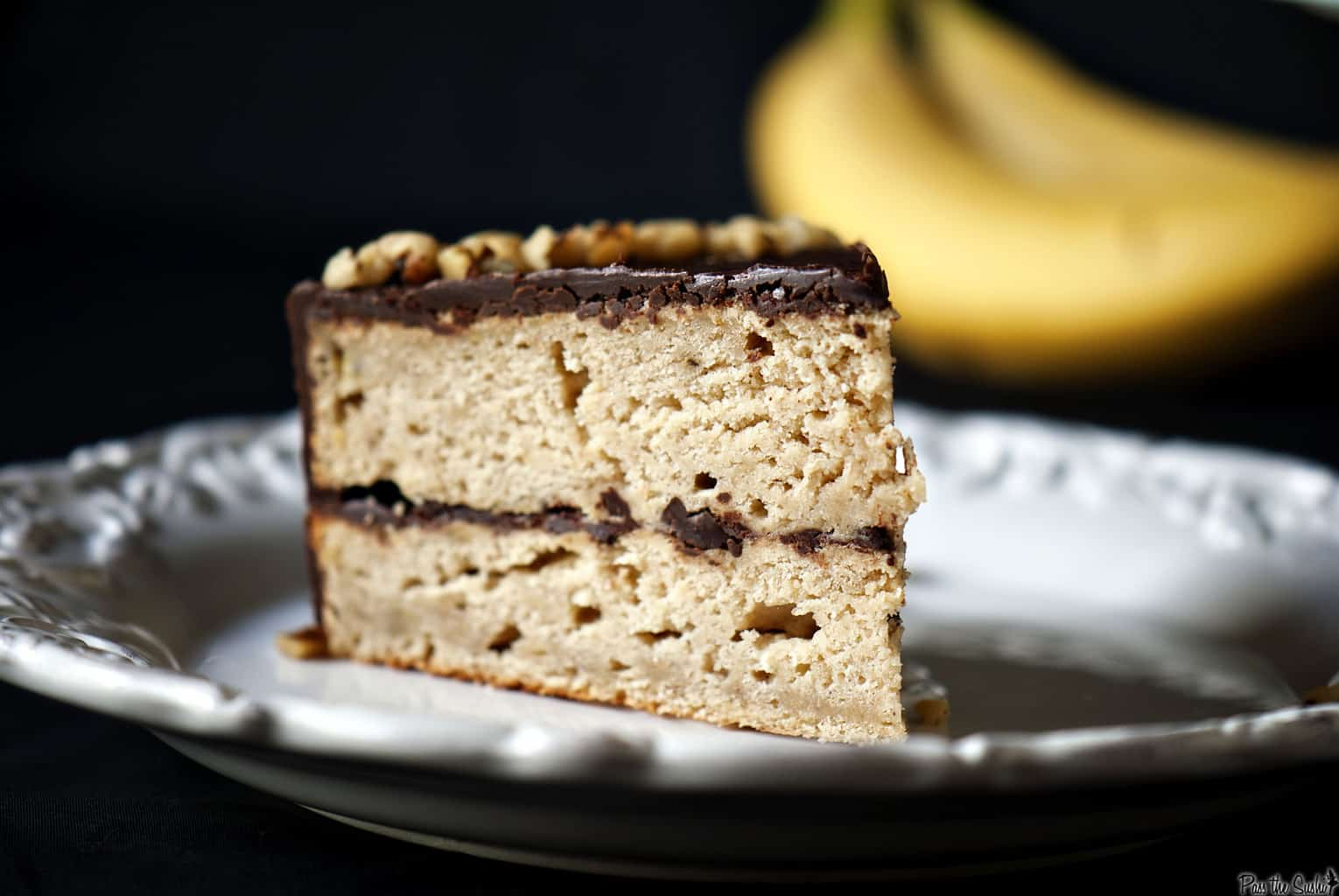Banana Cake with Chocolate Glaze